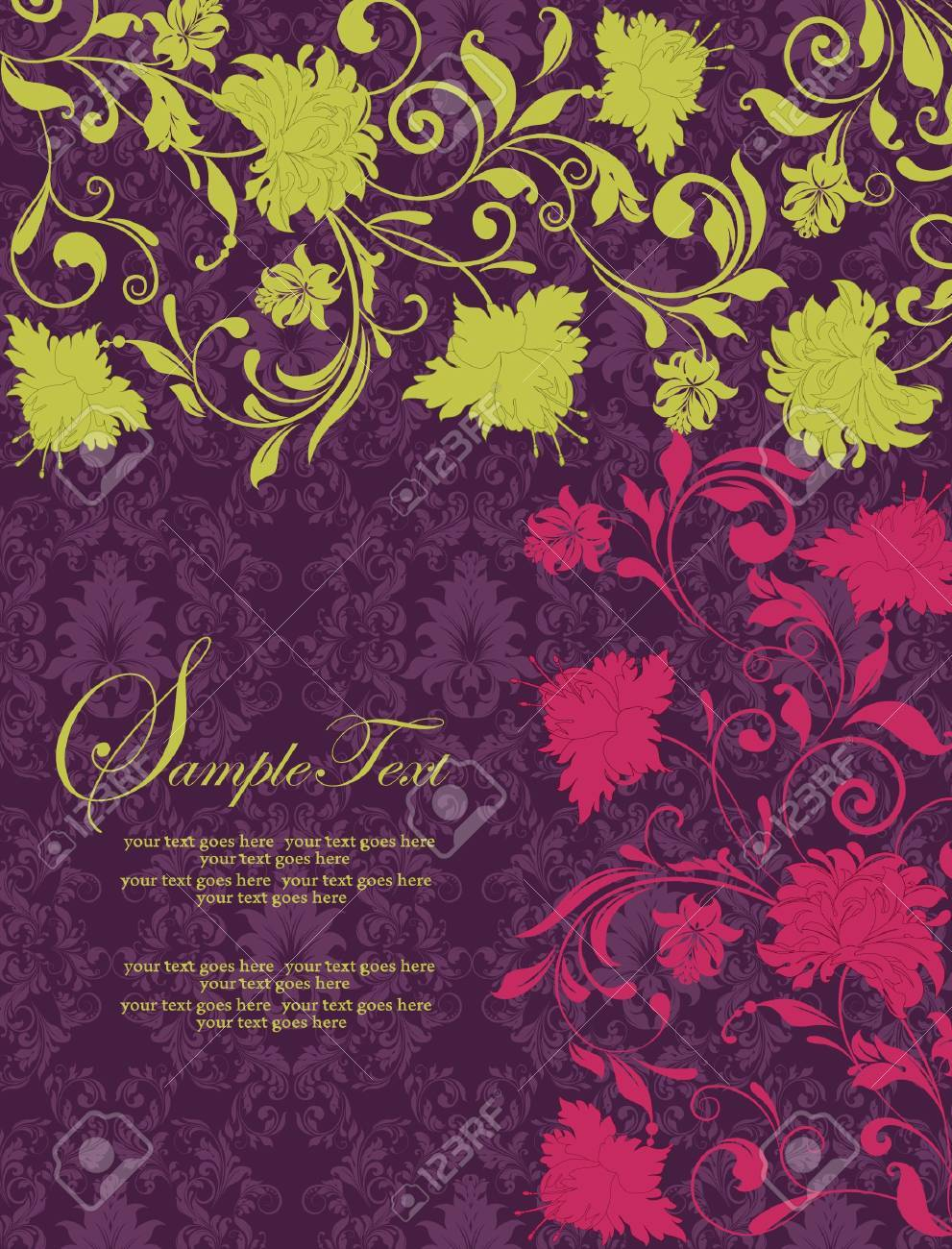 purple damask invitation card Stock Vector - 15331338