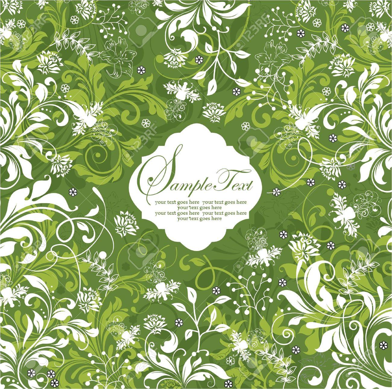 green floral invitation card Stock Vector - 15341270