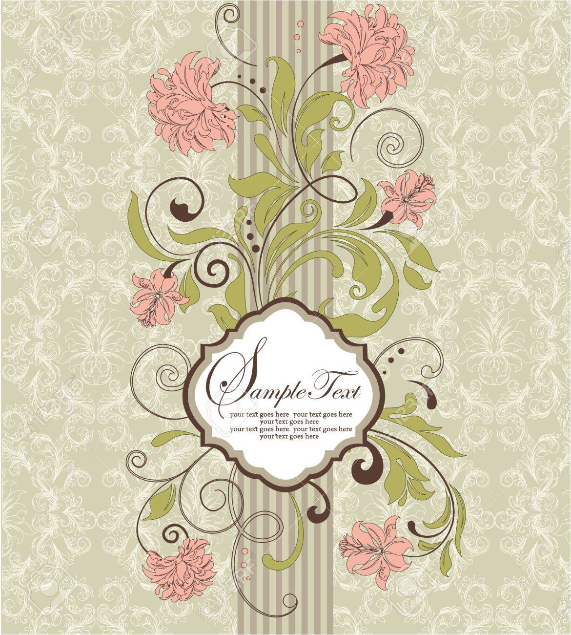 Vintage invitation card with floral background and place for vector vintage invitation card with floral background and place for text stopboris Choice Image