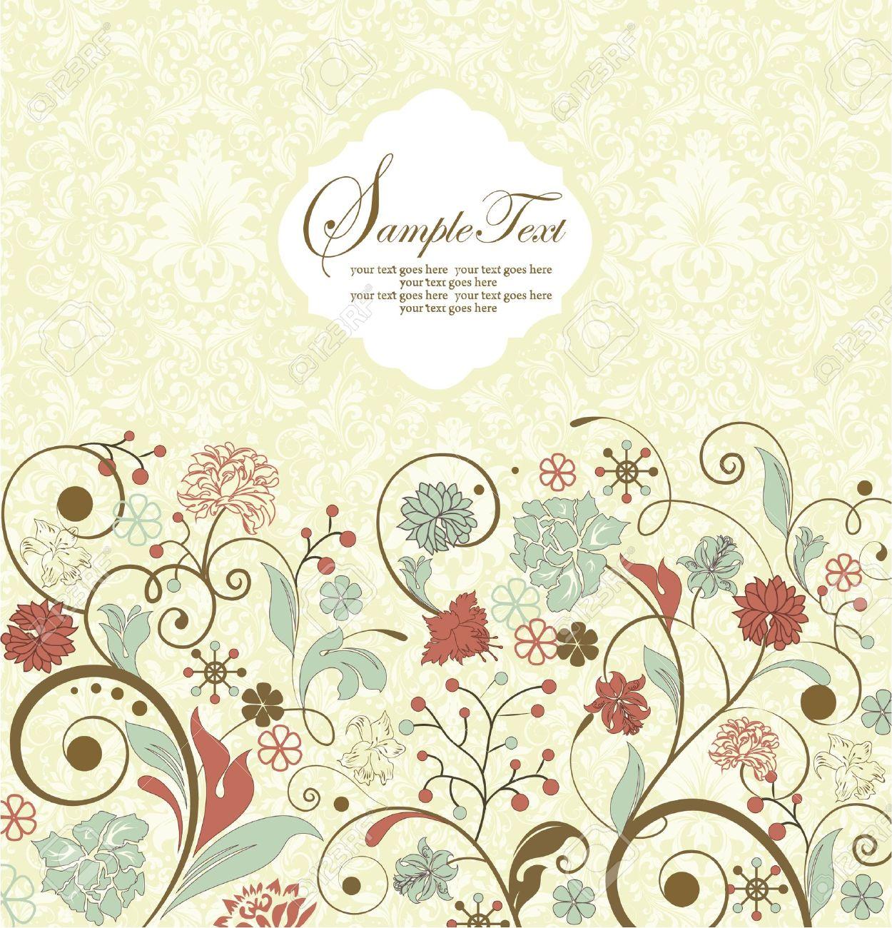 Vintage invitation card with floral background and place for vector vintage invitation card with floral background and place for text stopboris Images
