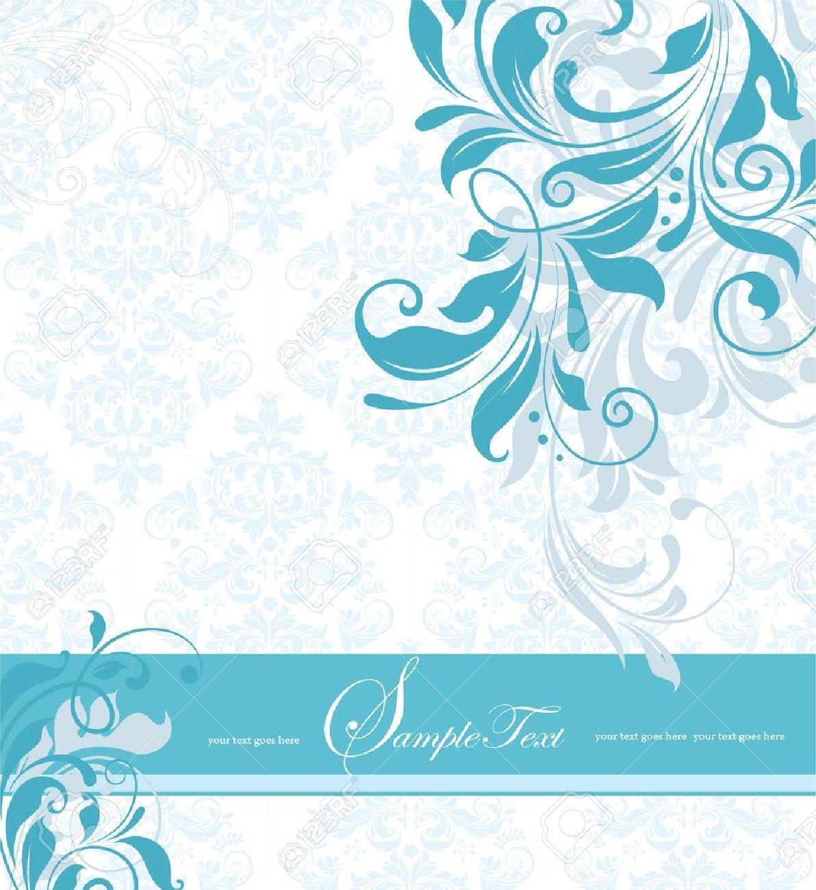 blue floral invitation card Stock Vector - 15640145