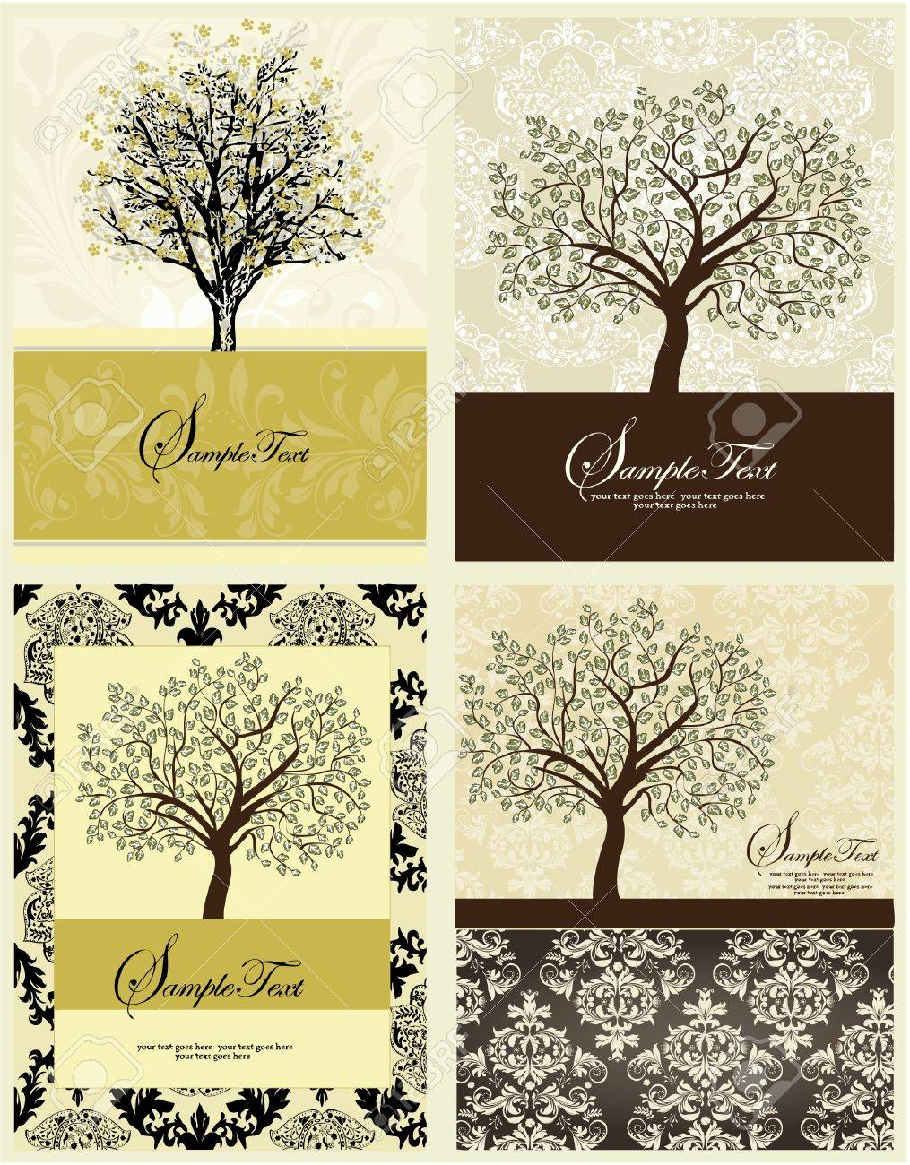 Set Of Four Family Reunion Invitation Card Royalty Free Cliparts – Family Reunion Invitation
