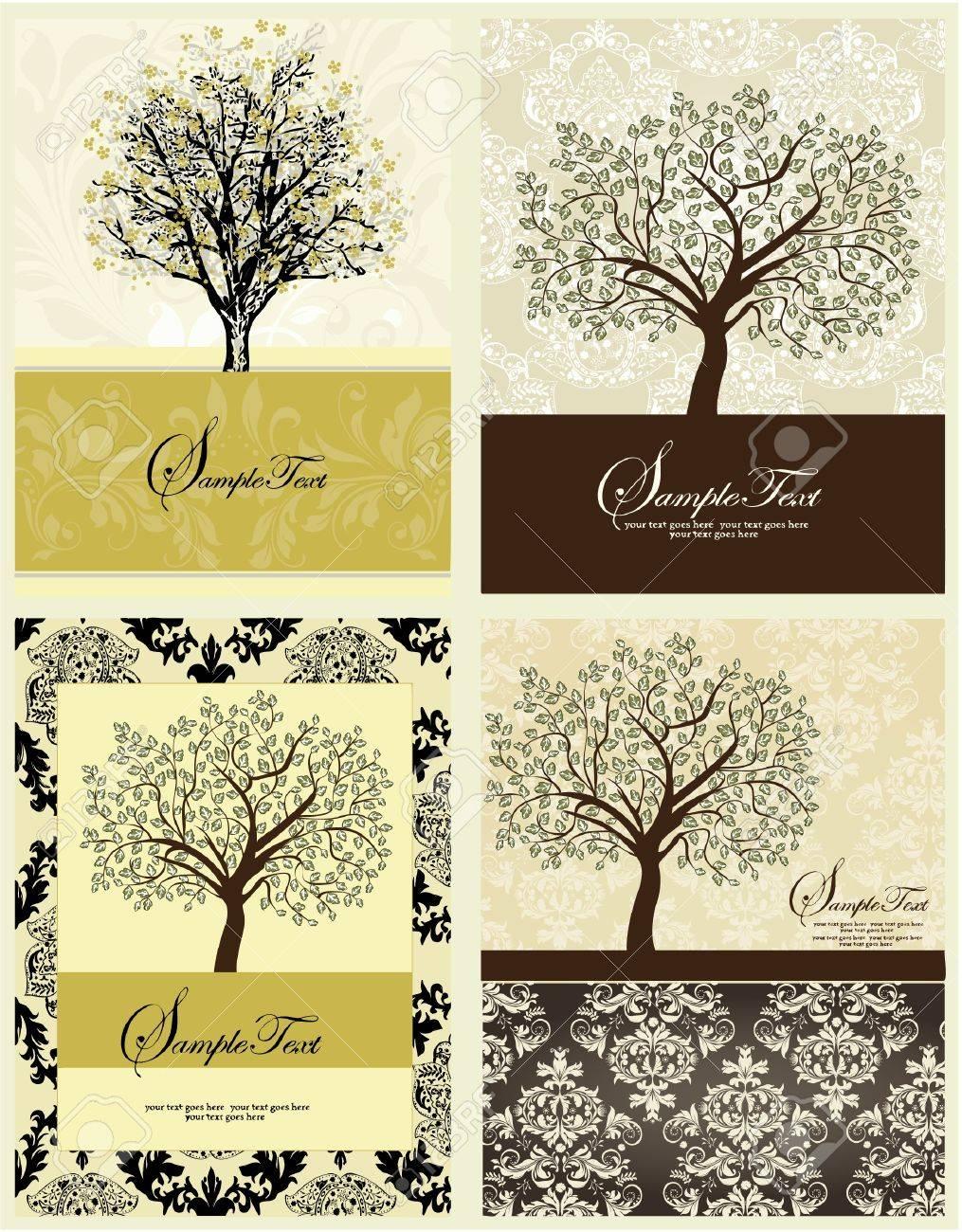 Set Of Four Family Reunion Invitation Card Stock Vector   15731571