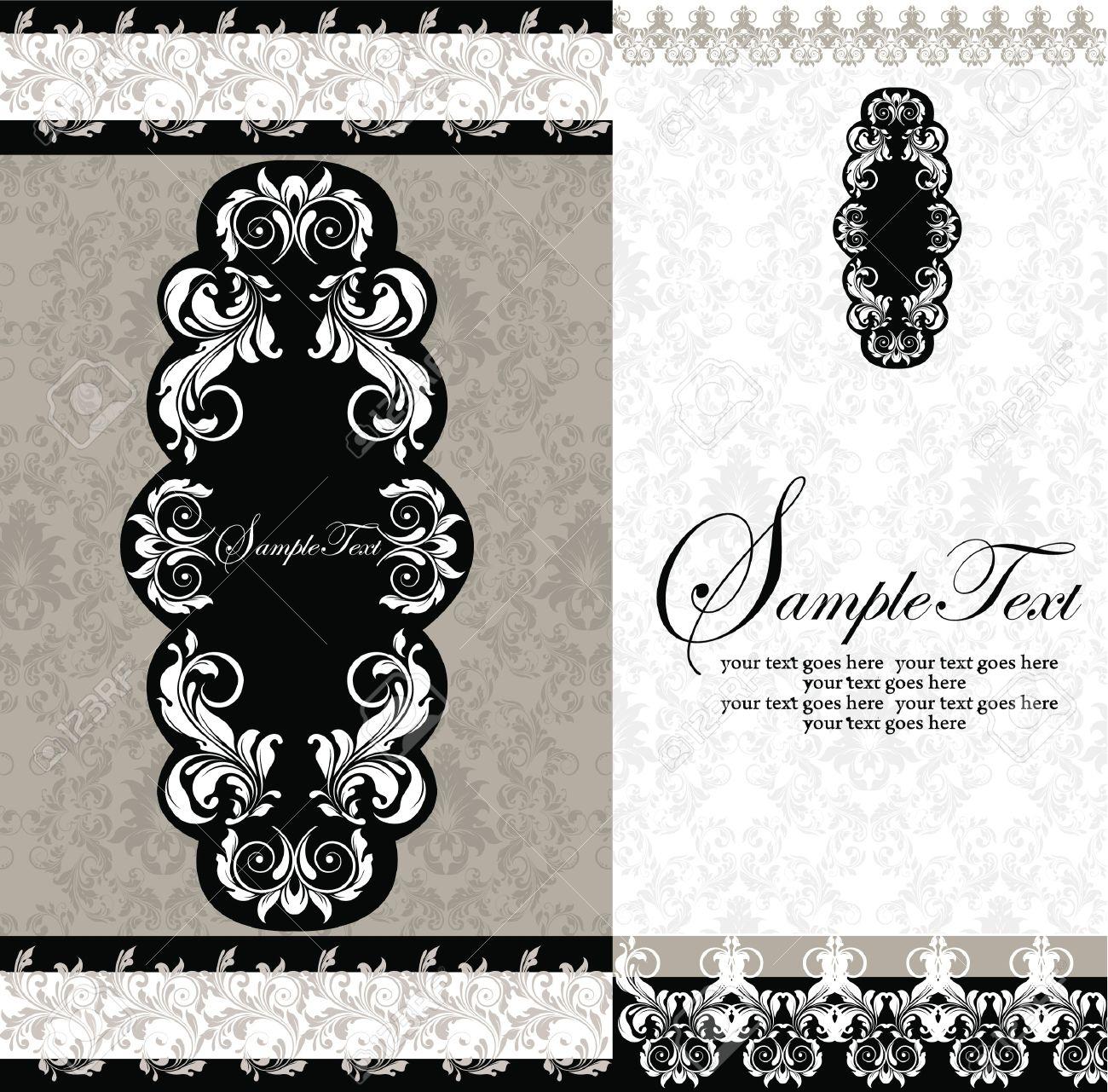 Black And White Damask Wedding Invitations Royalty Free Cliparts – Black and White Damask Wedding Invitations