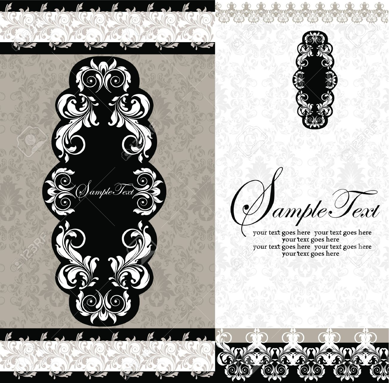 Black and white damask wedding invitations royalty free cliparts black and white damask wedding invitations stock vector 15847711 filmwisefo