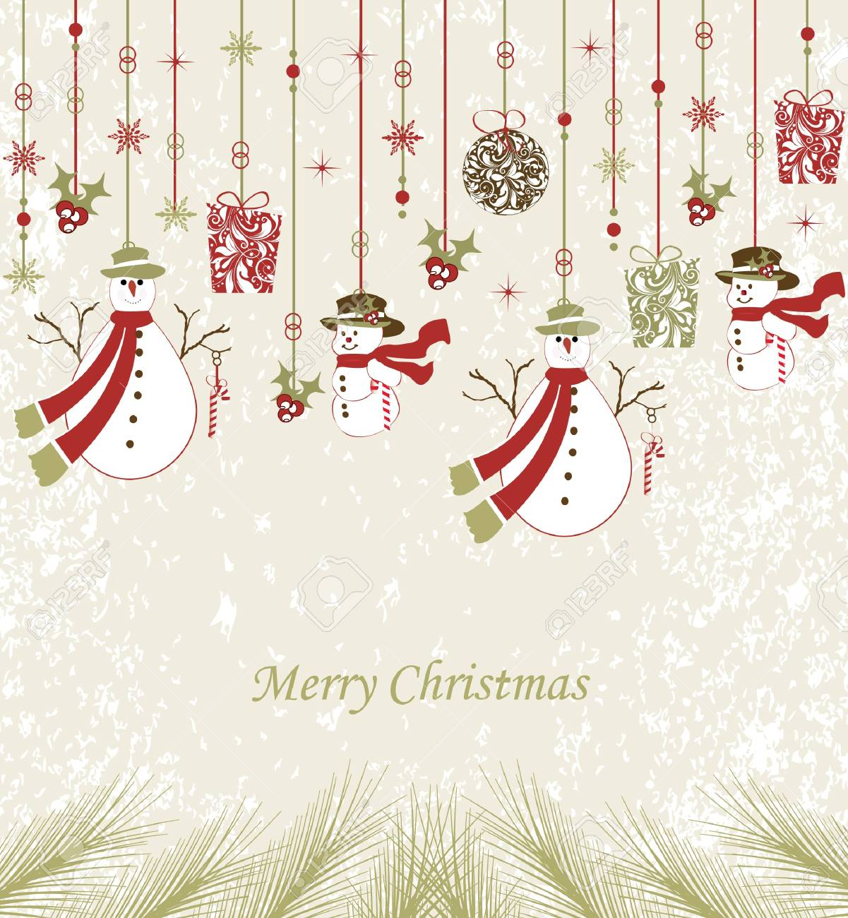 Beautiful design Christmas greeting card with xmas decoration Stock Vector - 16255510