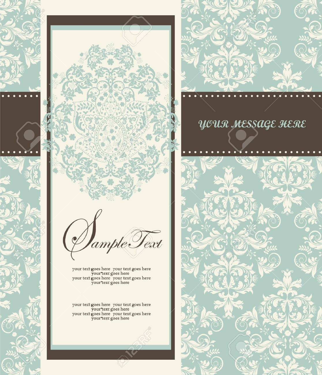 Invitation card style damask Stock Vector - 17002484