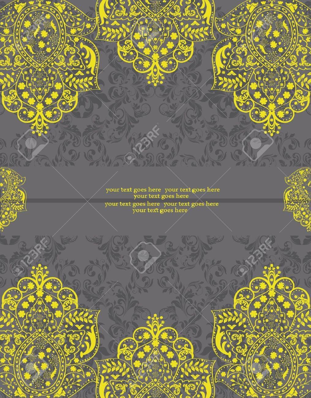 Yellow and Gray Damask Wedding Invitation Stock Vector - 17002473