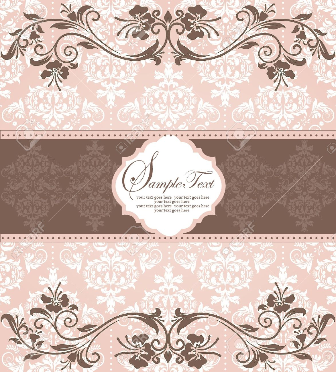 Pink vintage damask invitation card royalty free cliparts vetores imagens pink vintage damask invitation card stopboris Choice Image