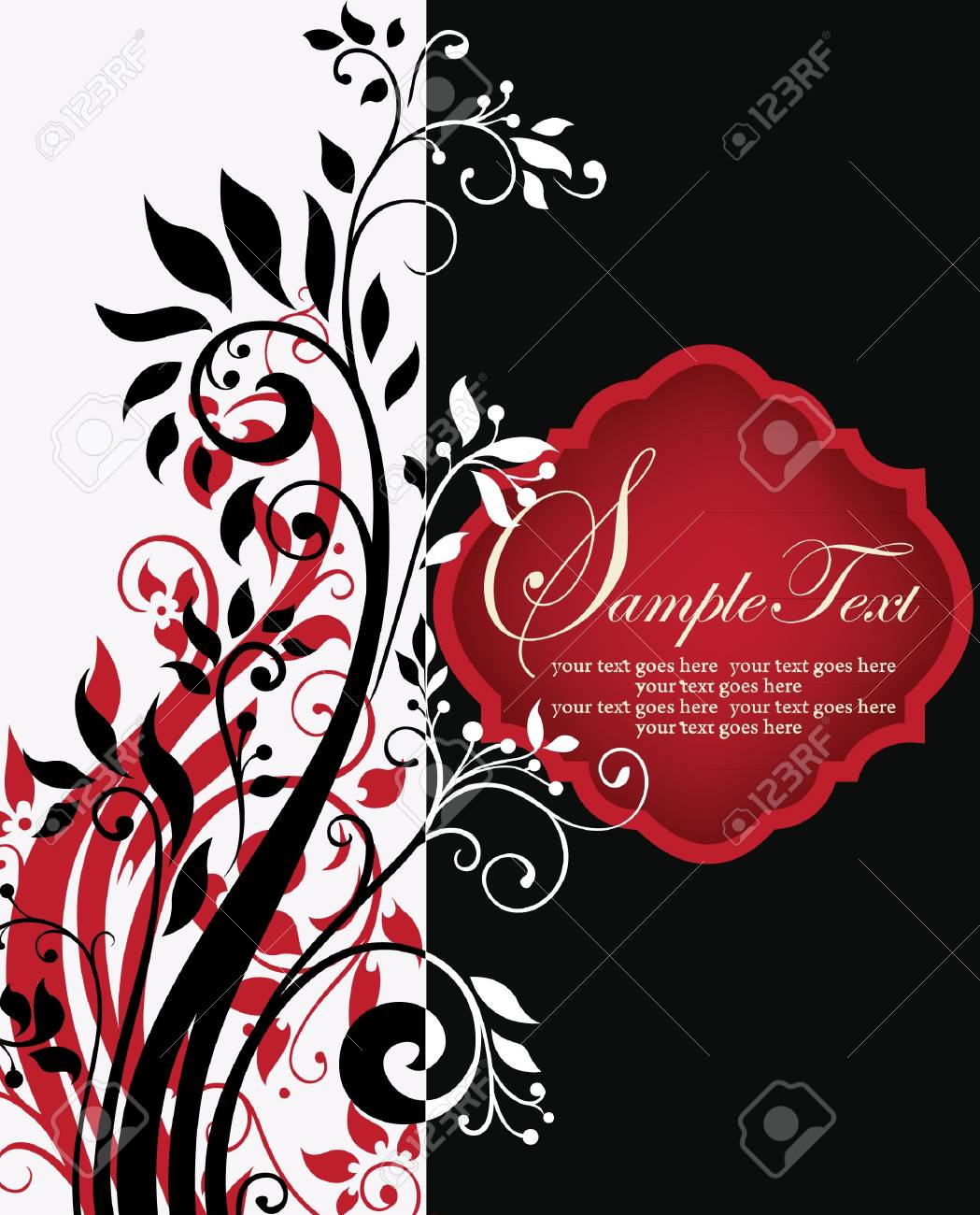 illustration with floral elements and place for text Stock Vector - 19006345