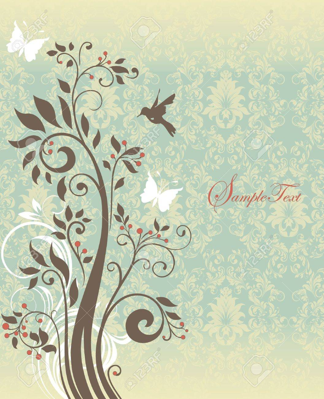 Beautiful vintage floral card Stock Vector - 19314030
