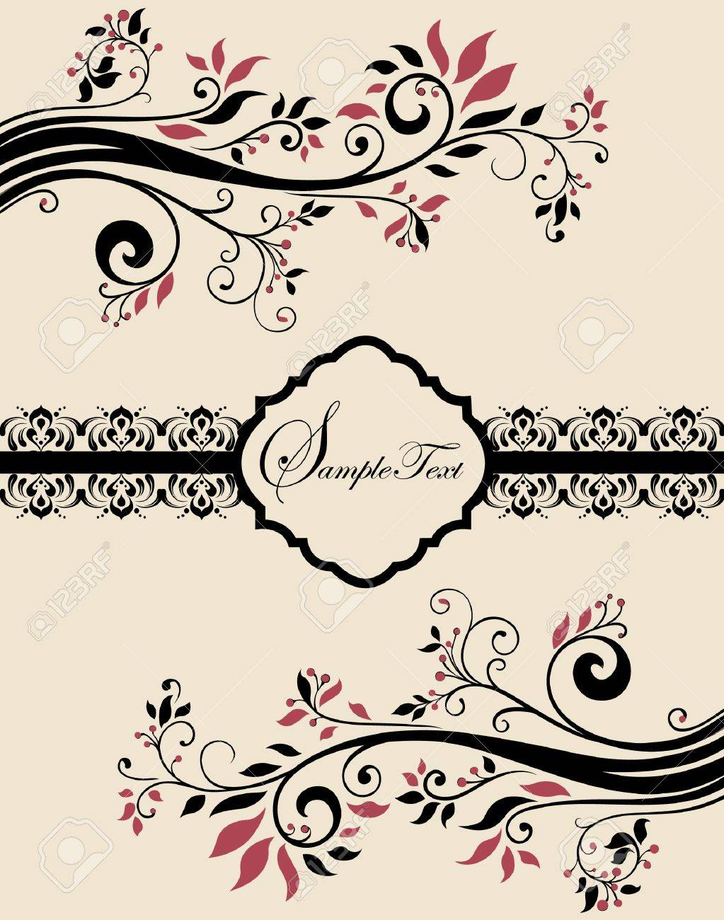Wedding ornaments - Invitation Vintage Card With Floral Ornament Stock Vector 19313995