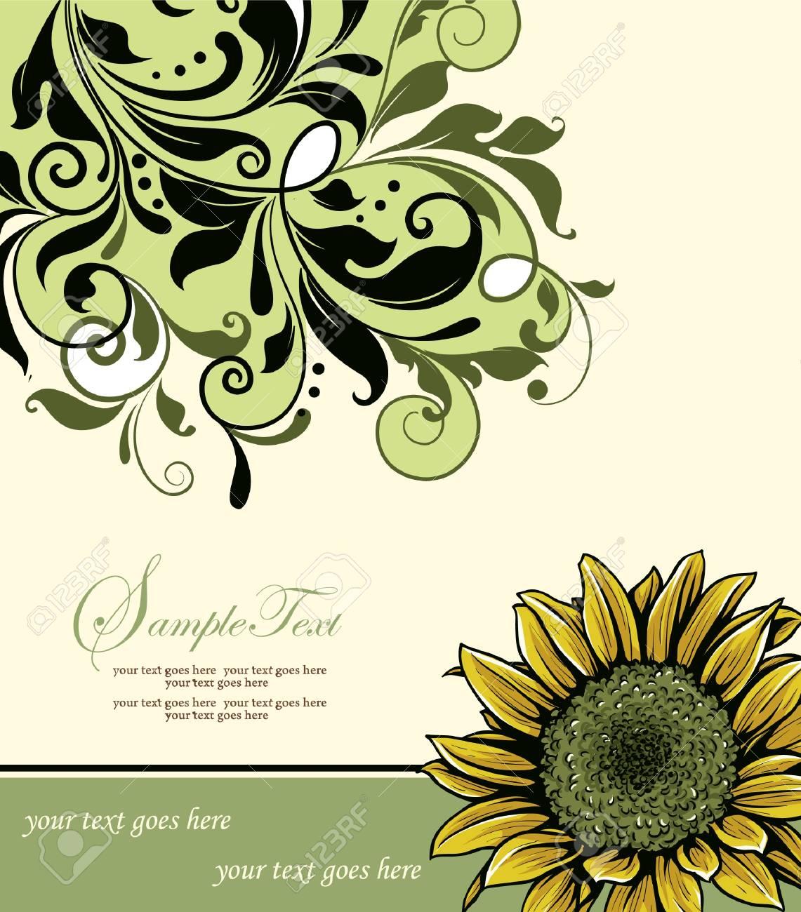 Vintage Elegant Sunflower Wedding Invitation Royalty Free Cliparts ...