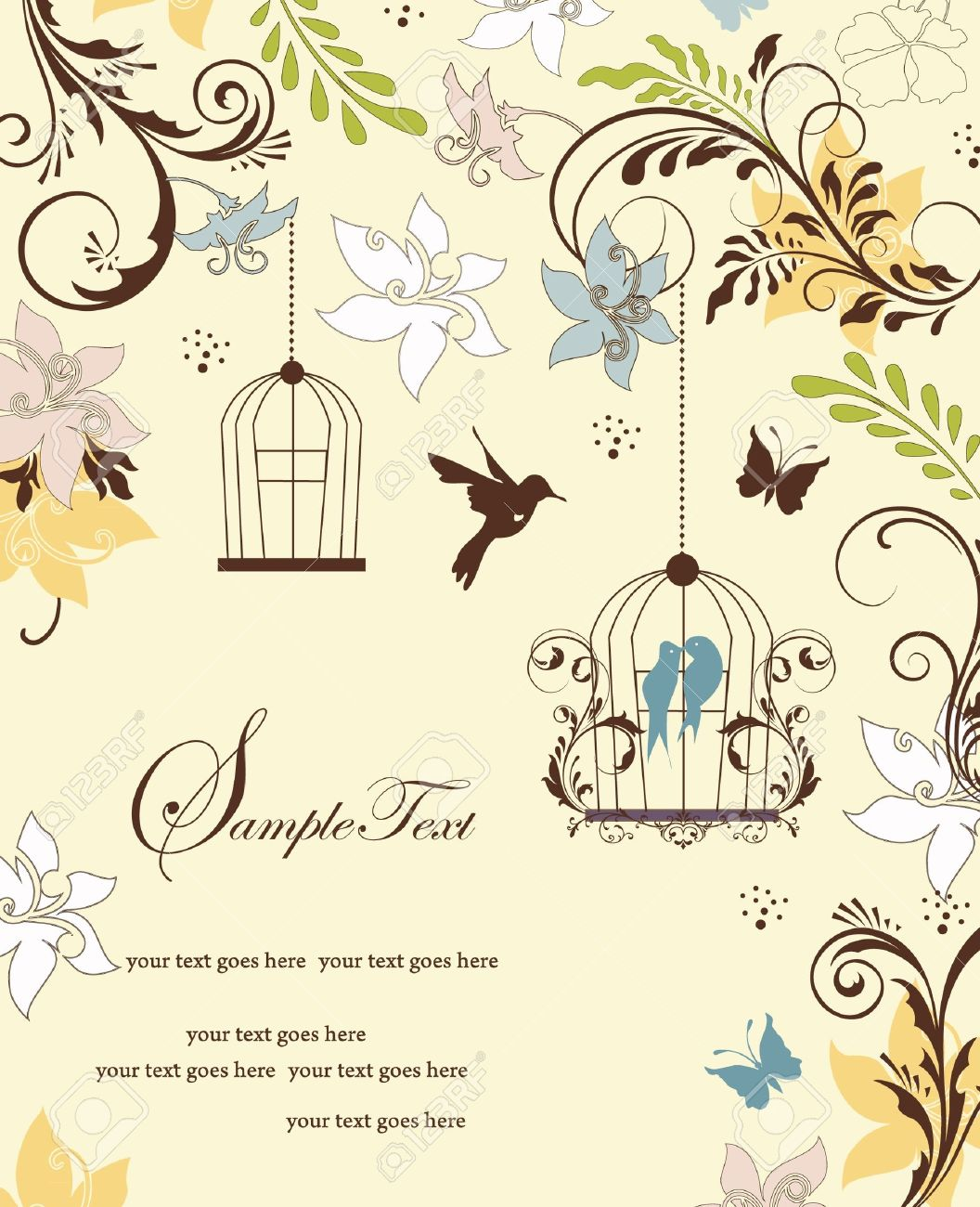 Vintage Birdcage Wedding Invitation Card Royalty Free Cliparts