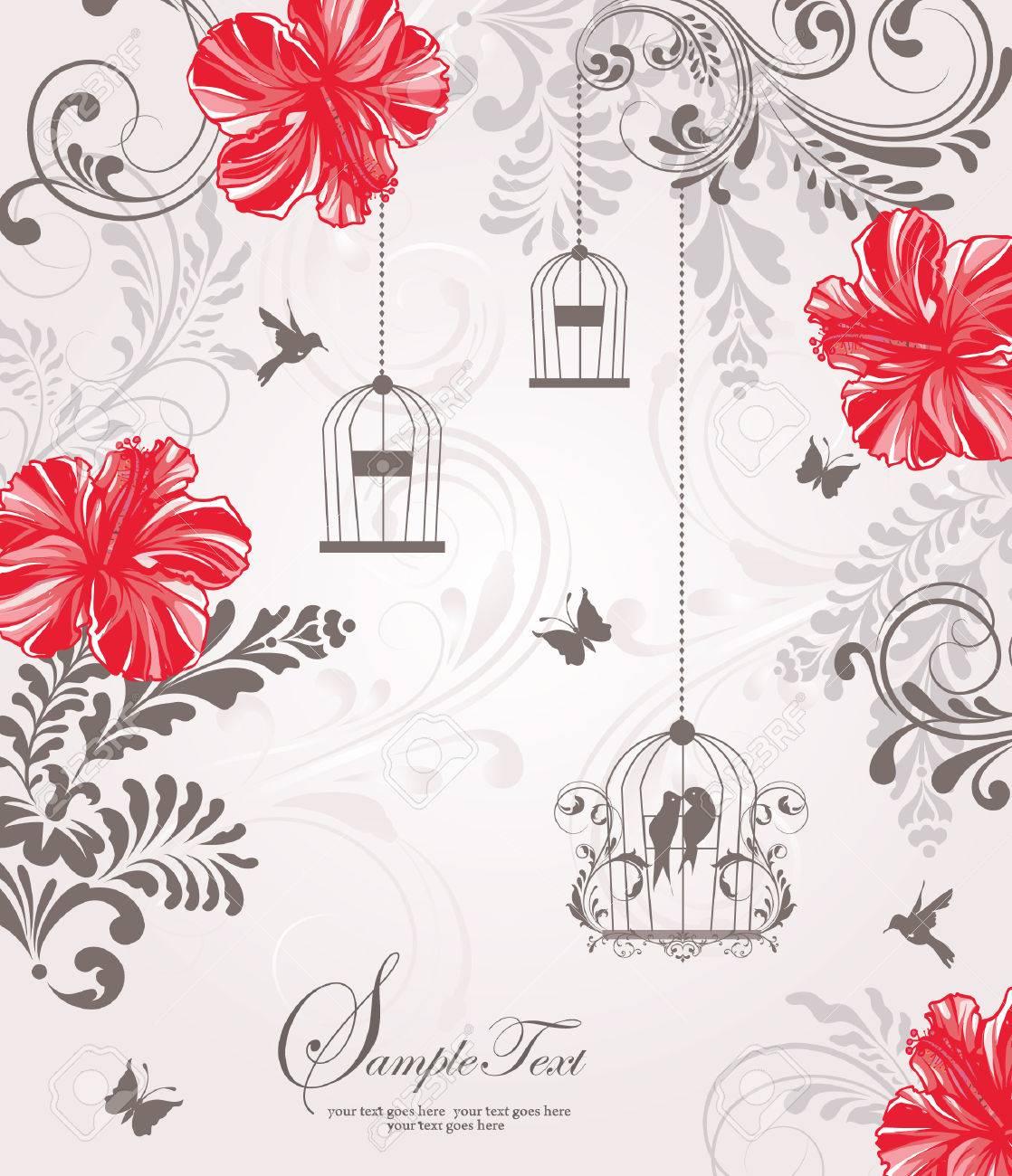 Vintage Birdcage Wedding Invitation Card Royalty Free Cliparts ...