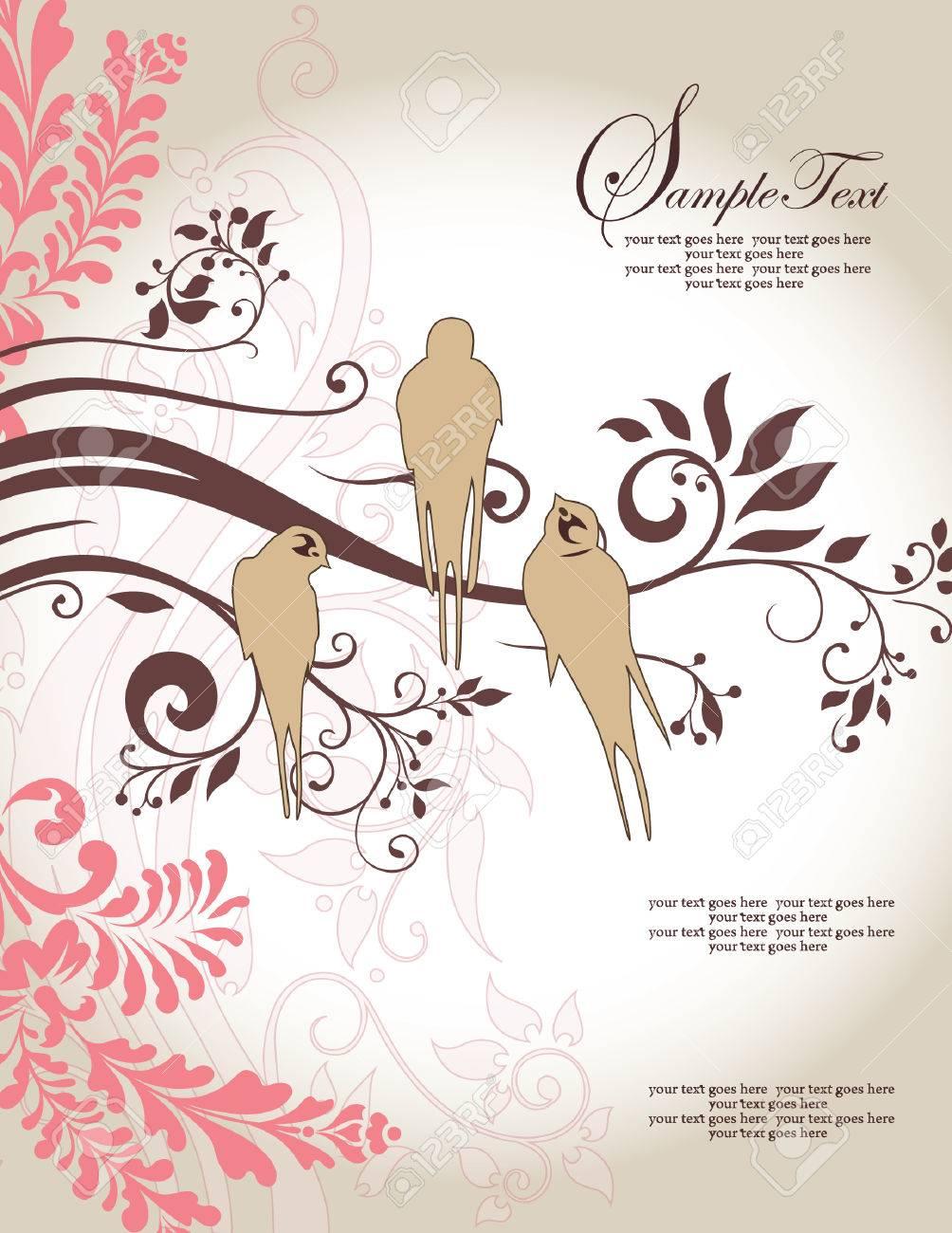 Love Birds Sitting In A Tree Wedding Invitation Royalty Free ...