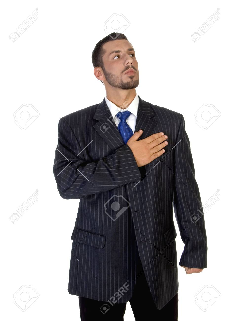 stylish pose of successful man on an isolated background Stock Photo - 3688829