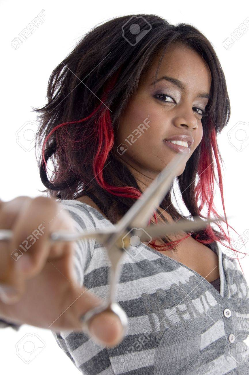 african girl with scissor on an isolated background Stock Photo - 3783746