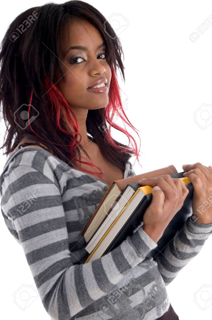 teenager student holding her study books with white background Stock Photo - 3849301