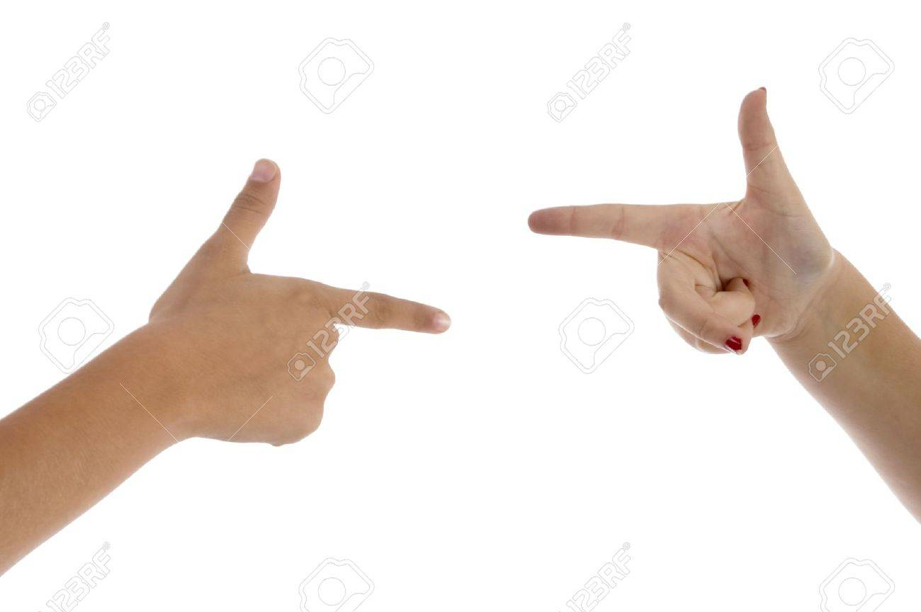 two fingers pointing each other on an isolated background Stock Photo - 3880206