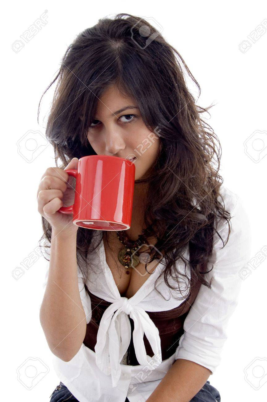 Sexy Teenager Mug White With Coffee Posing Background vN0mnOPyw8