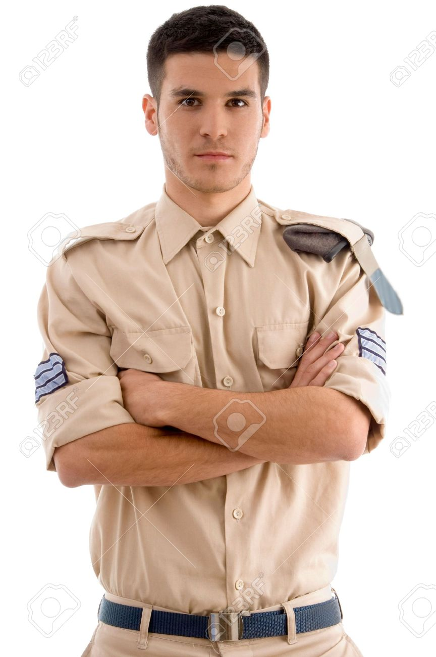 american guard with folded hands on an isolated white background Stock Photo - 3934125