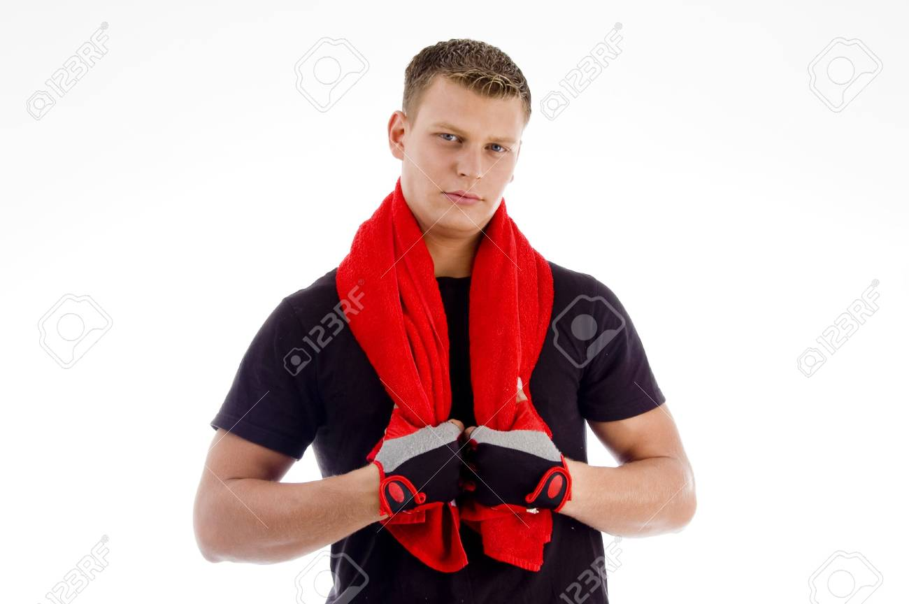 portrait of male with towel looking at camera on an isolated background Stock Photo - 3950765