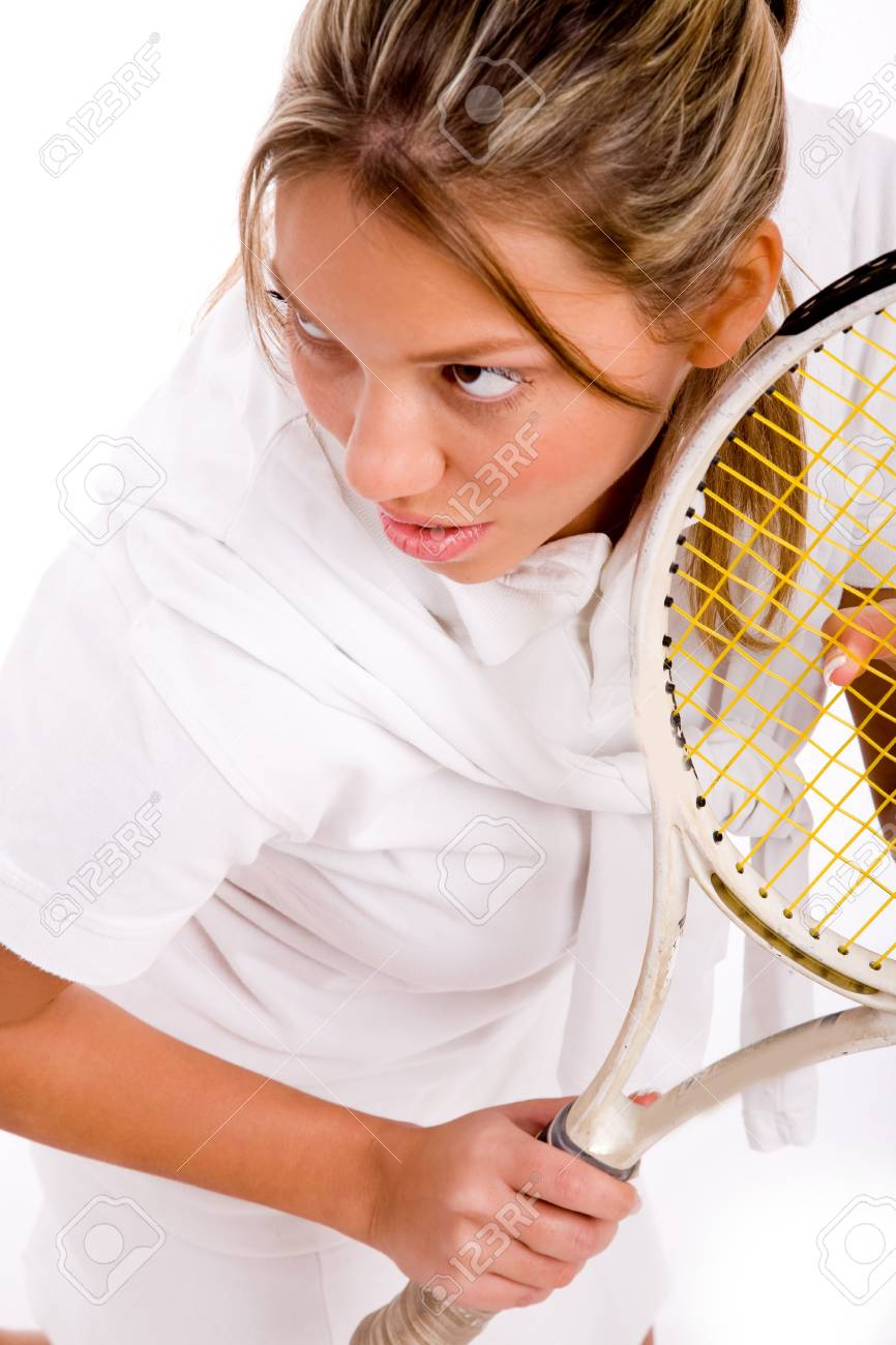 top view of adult tennis player on an isolated background Stock Photo - 3998796