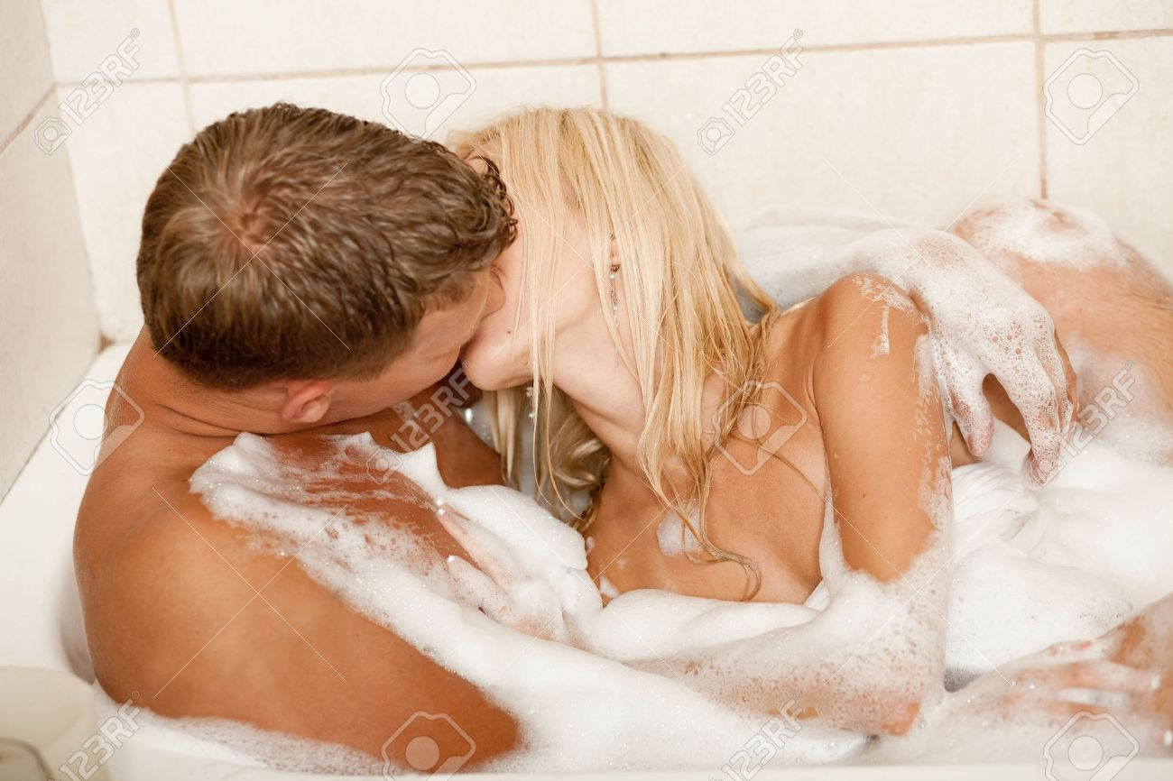 Man And Woman Kissing In Bubble Bath Stock Photo Picture And