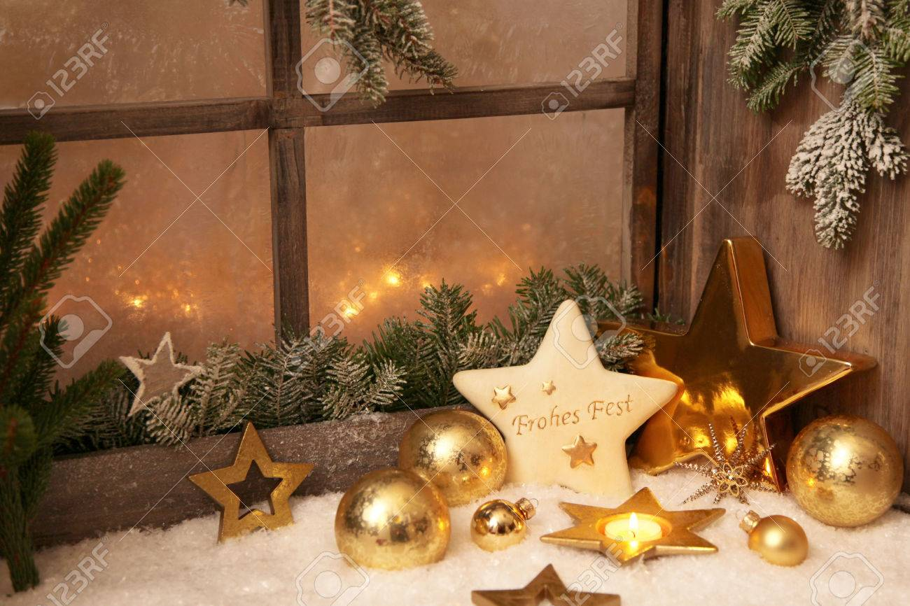 christmas ornaments on window sill stock photo 22593862