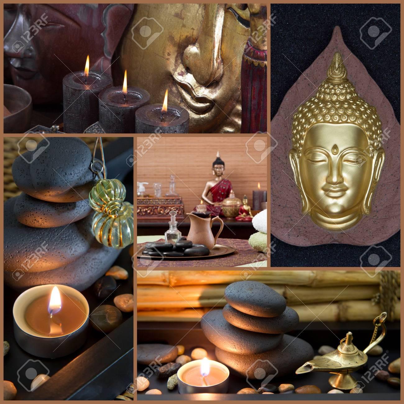 Spa dekoration mit buddha in gold, braun und schwarz ...