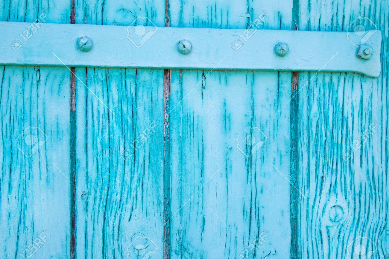 Old Rustic Wooden Background In Turquoise Color Shabby Style Stock Photo