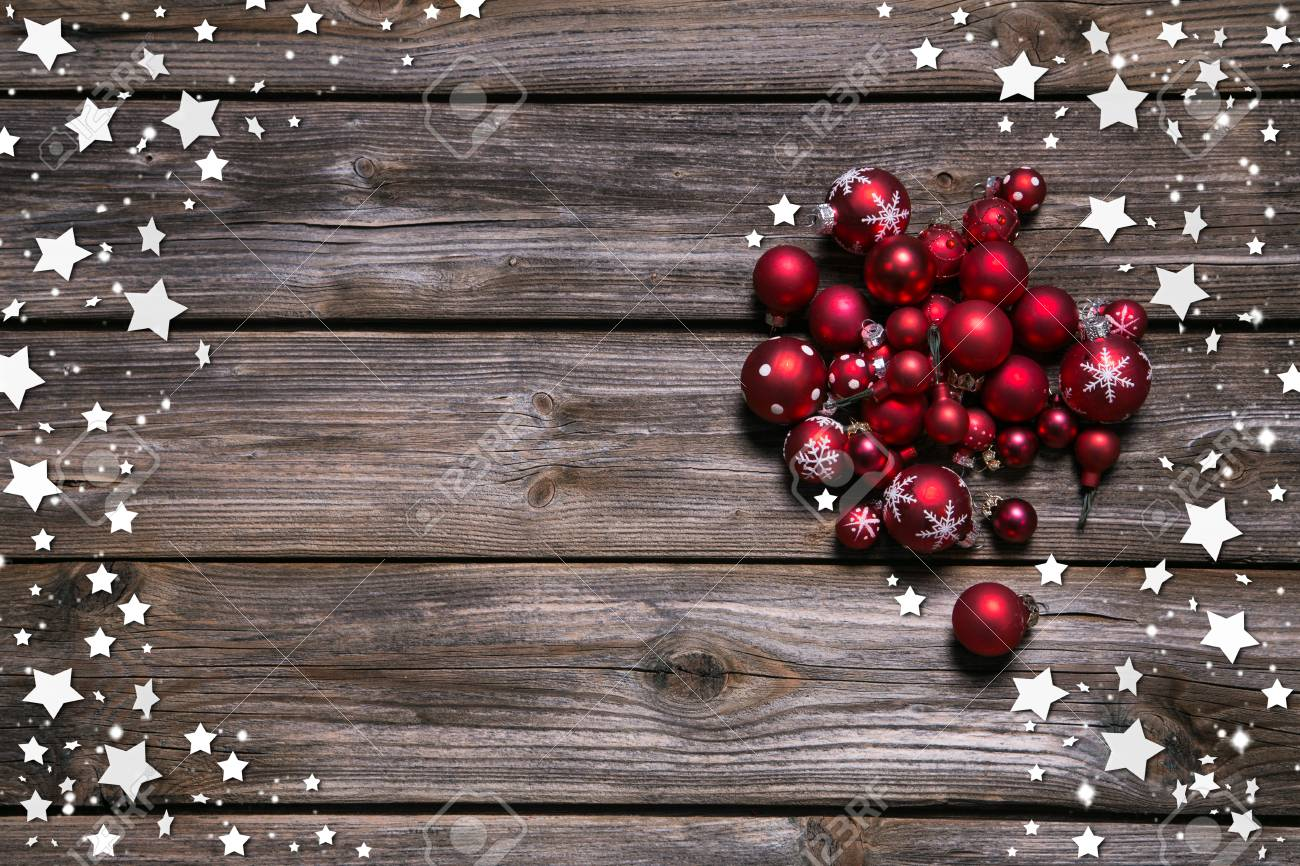 Wooden Rustic Christmas Background With Red Balls And As Frame