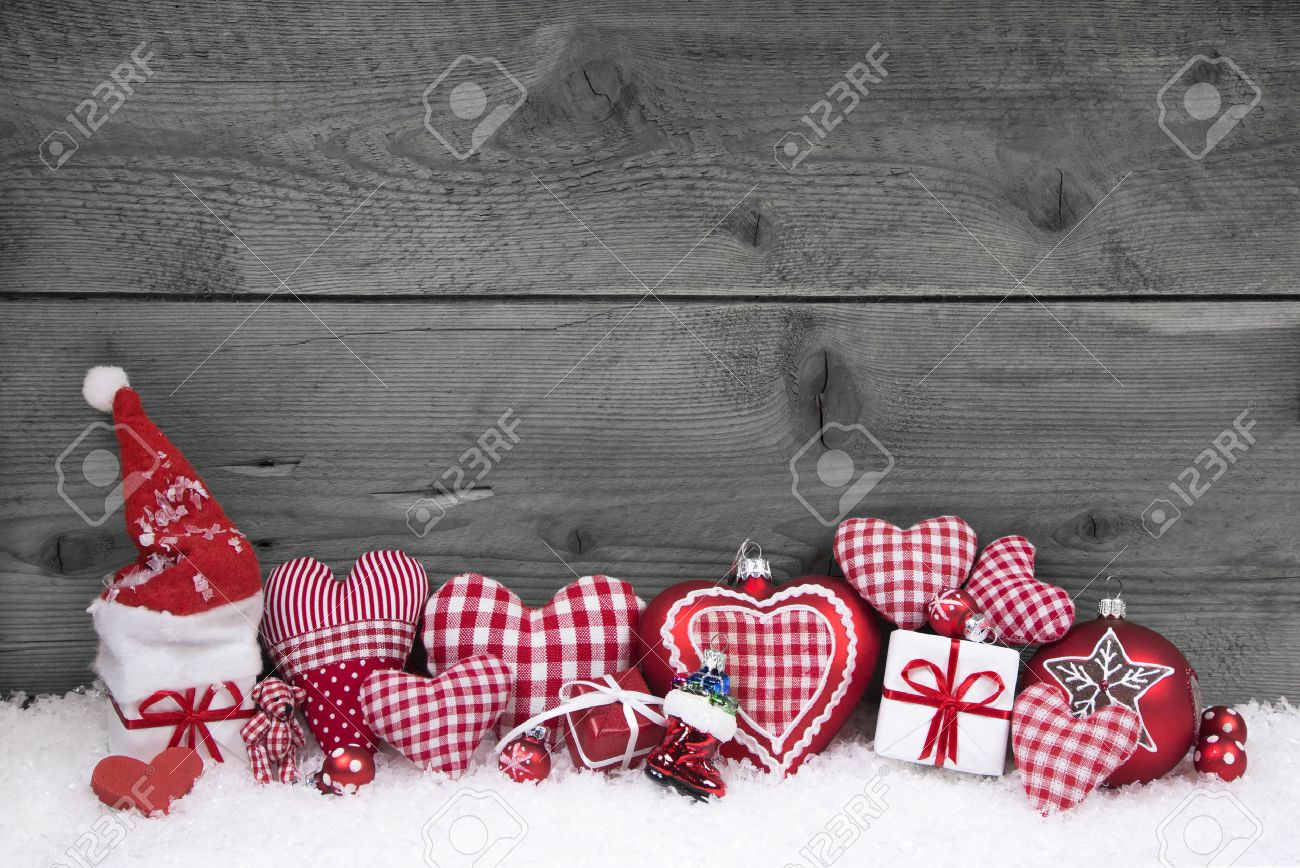 Red And Grey Decorating Red White Checked Christmas Decoration On Grey Wooden Shabby