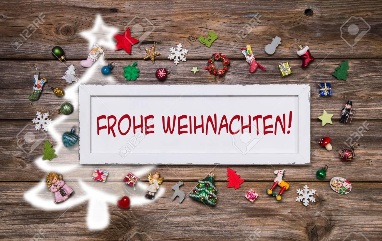 Carte De Voeux Pour Noël Avec Le Texte Allemand De Joyeux Noël