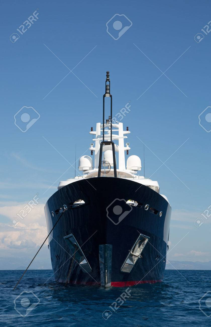 Gigantic Big And Large Luxury Mega Yacht With Helicopter Landing Place On The Blue Ocean