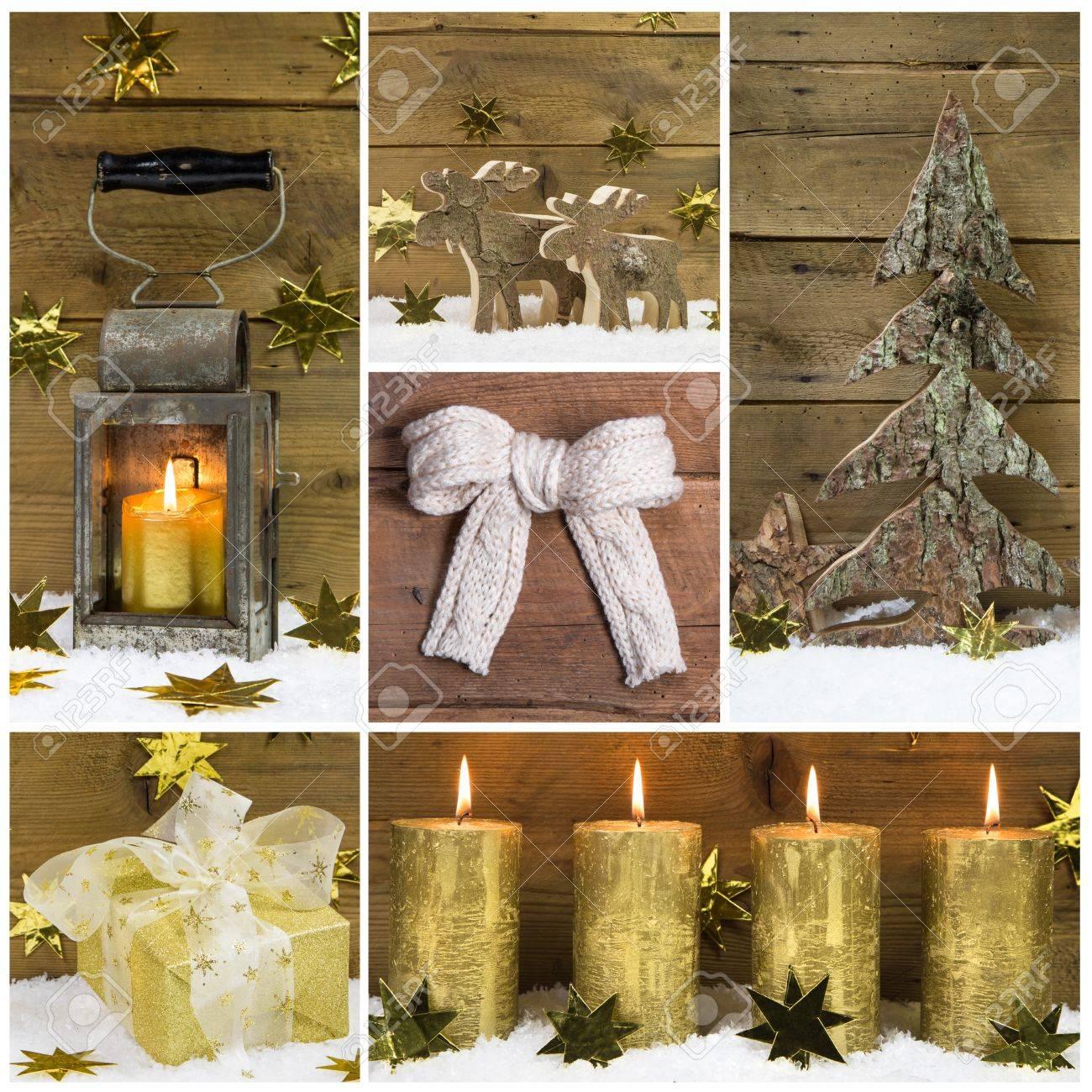 Elegant Natürliche Weihnachtsdekoration Mit Holz, Schnee Und Goldene Objekte.  Standard Bild   30540038