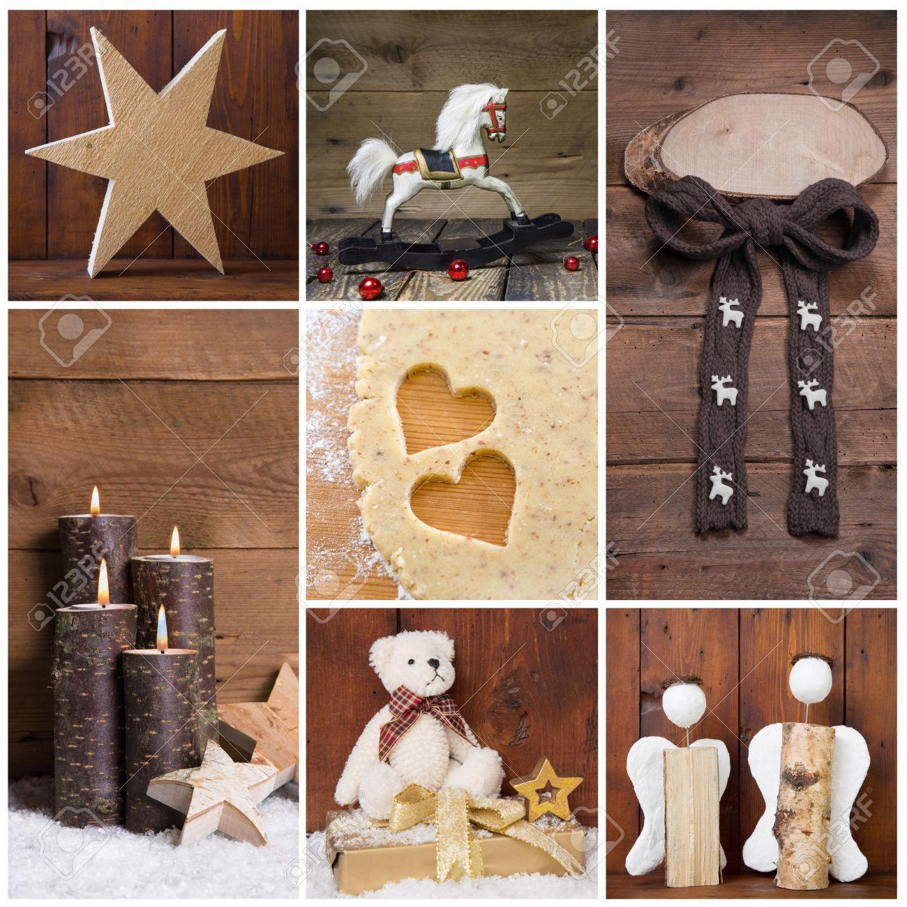 Natürliche Weihnachtsdekoration Mit Holz. Verschiedene Objekte In Einer  Collage. Lizenzfreie Bilder   30558593