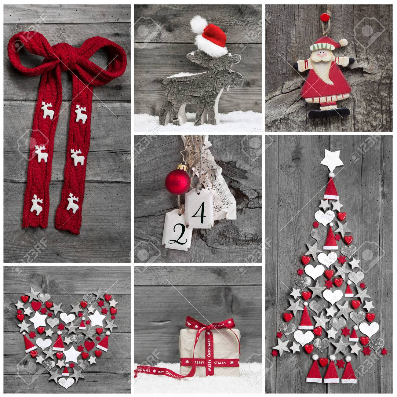 Red and white christmas decorations - Collage Of Different Red White And Grey Christmas Decorations On Wood Stock Photo 30936808