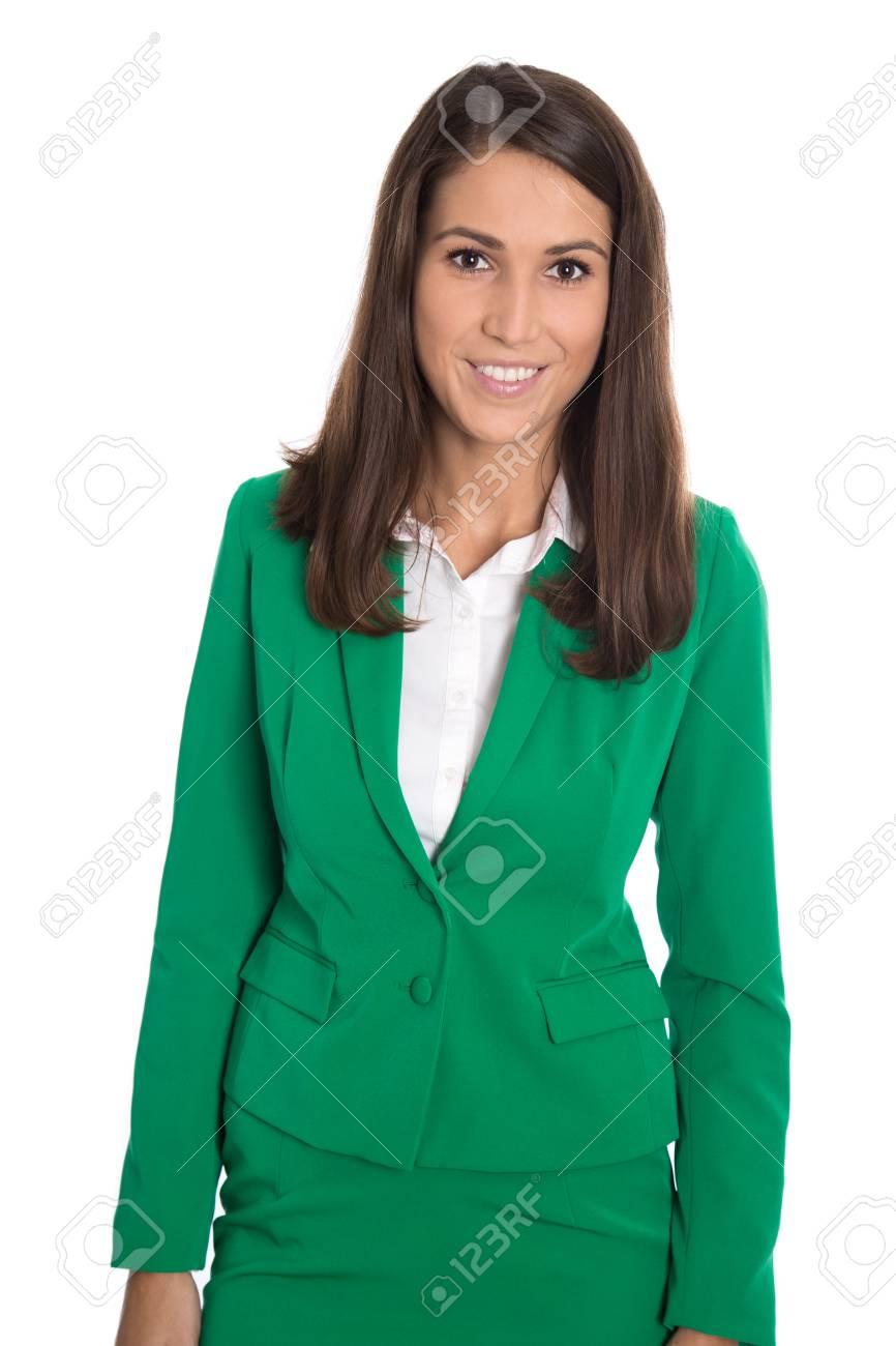 pas mal 66f35 e032b Portrait d'une femme d'affaires élégante isolé successfu porter un blazer  vert.