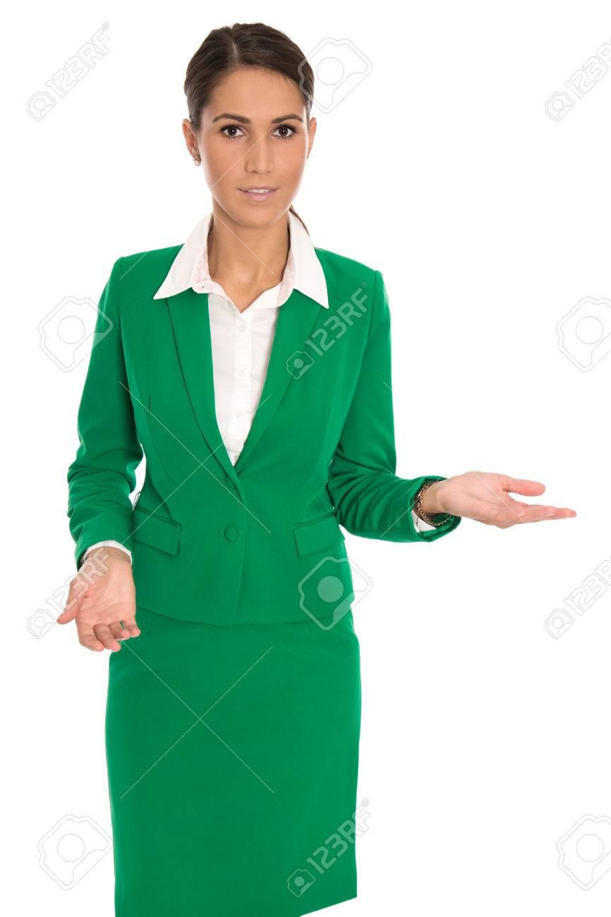 Nouveau En Présentant Présenter D'affaires Isolé Vert Femme Costume bfyY76g