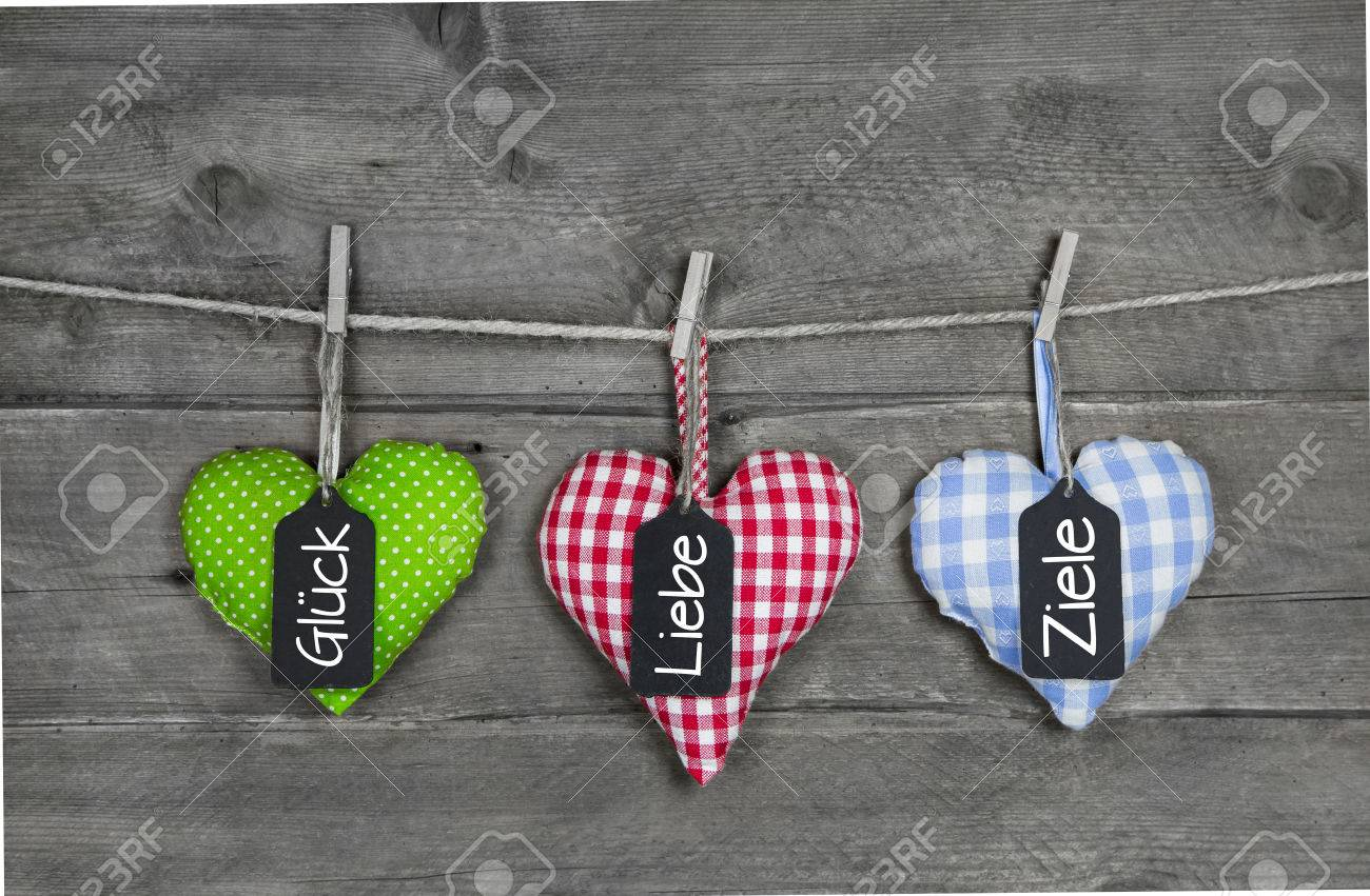 Three Hearts For Birthday Greetings With German Text Luck Love
