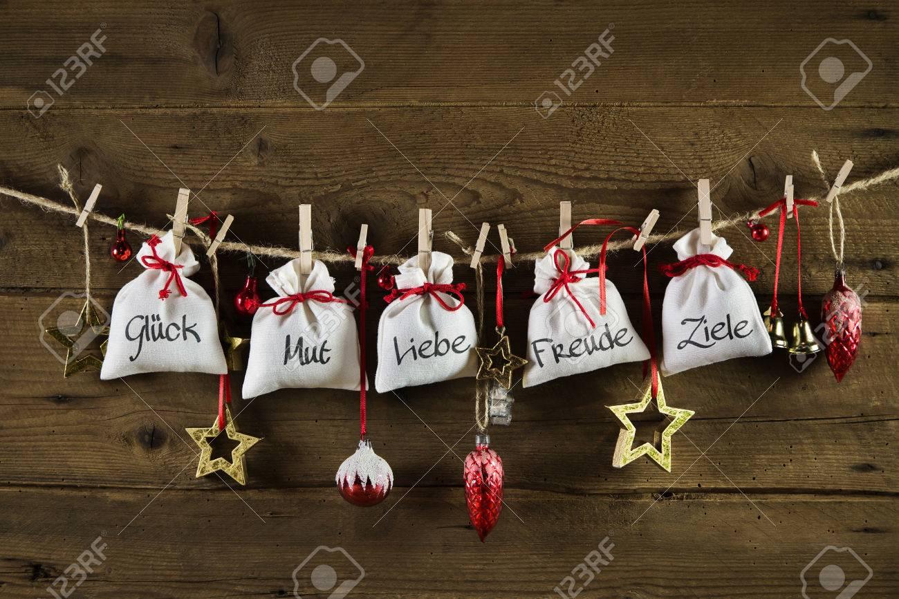Allemand De Noël Carte De Voeux Avec Des Cadeaux: La Chance, Le