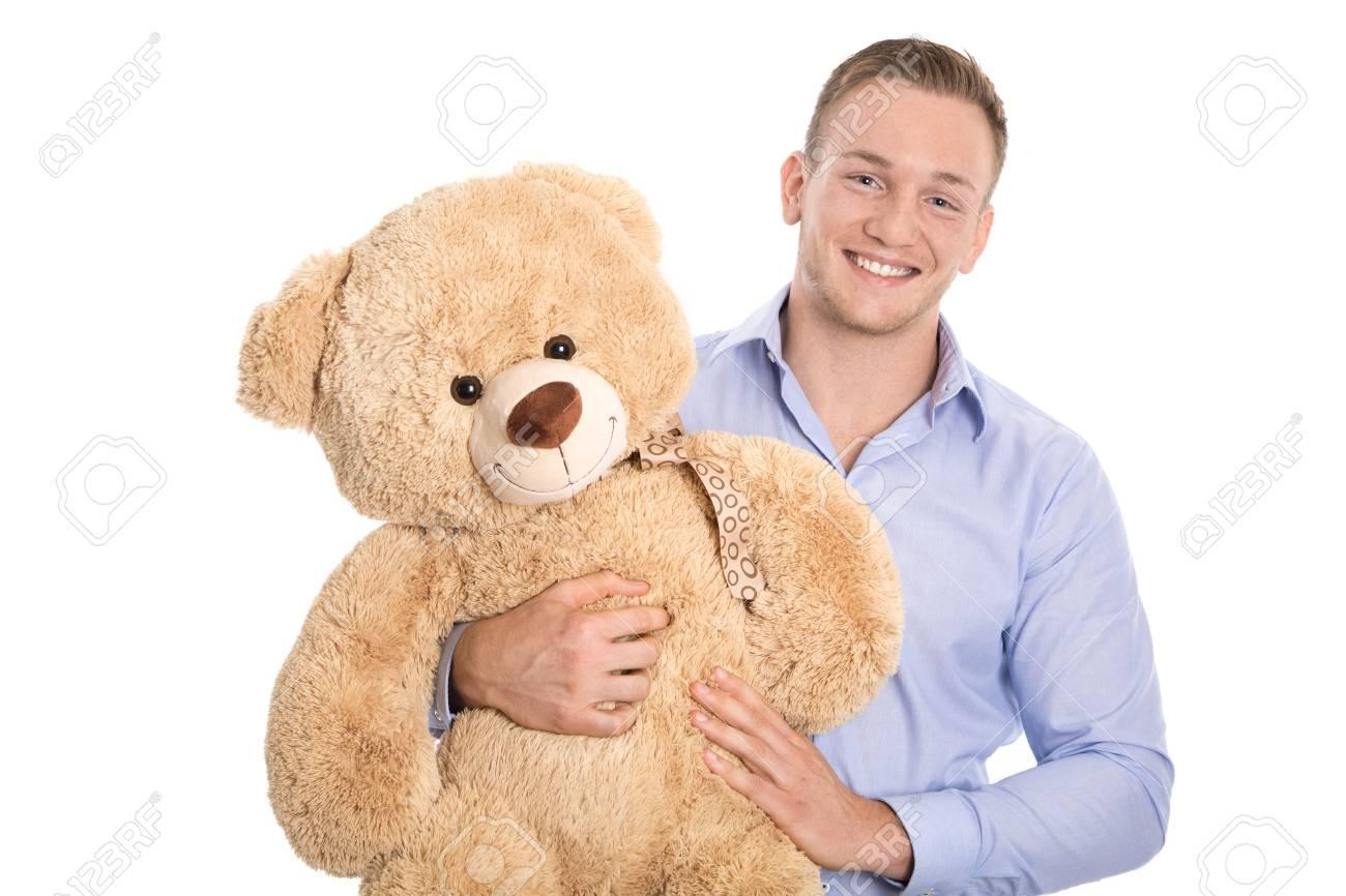 Bear giovane Isolato attraente con Teddy e In sorridente Felice 3Rcq4j5AL