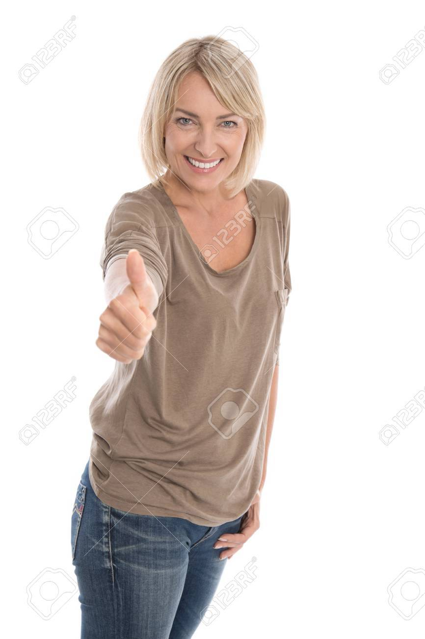 mature woman giving thumbs up sign isolated over white background