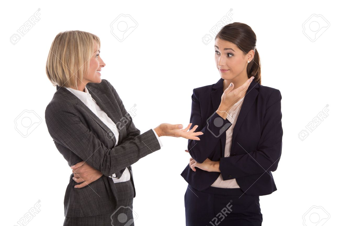 Two isolated business woman talking together. - 33450324
