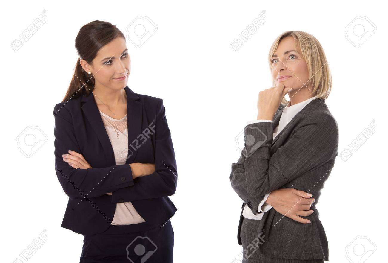 Two isolated business woman talking together. - 33450888