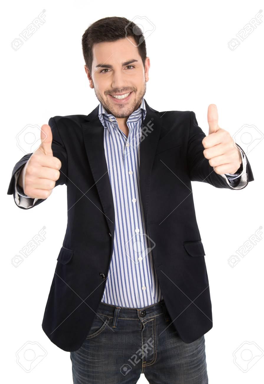 Exitoso Hombre Pulgares Feliz Con Arriba Los De Para Negocios RRZwxPqr