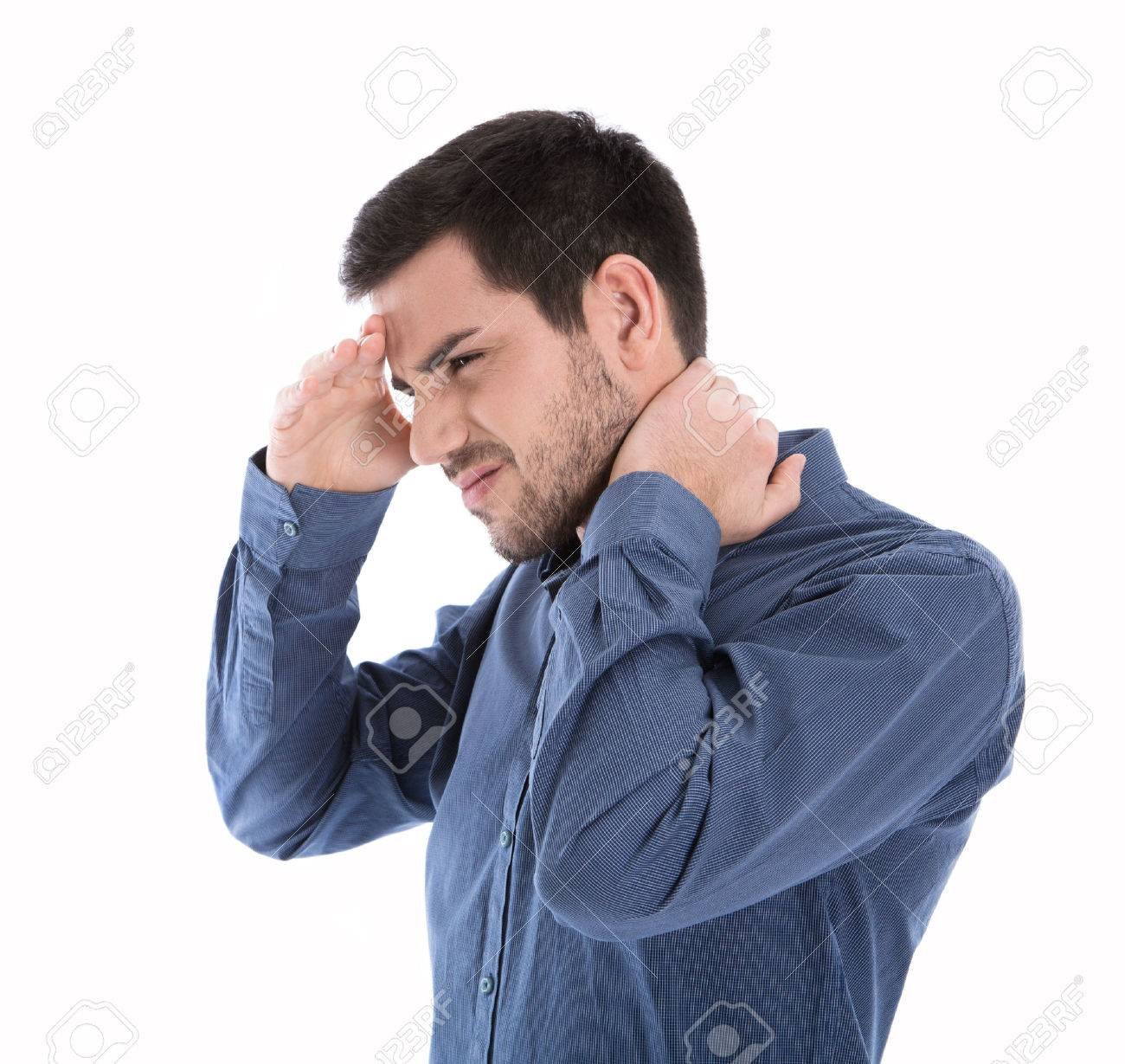 Isolated man in blue shirt with pains in the neck over white. Banque d'images - 42962137