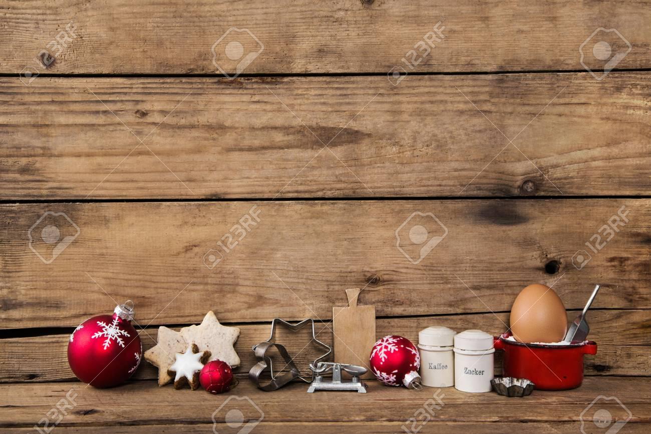 Backen In Der Weihnachtszeit Holzerner Hintergrund Mit